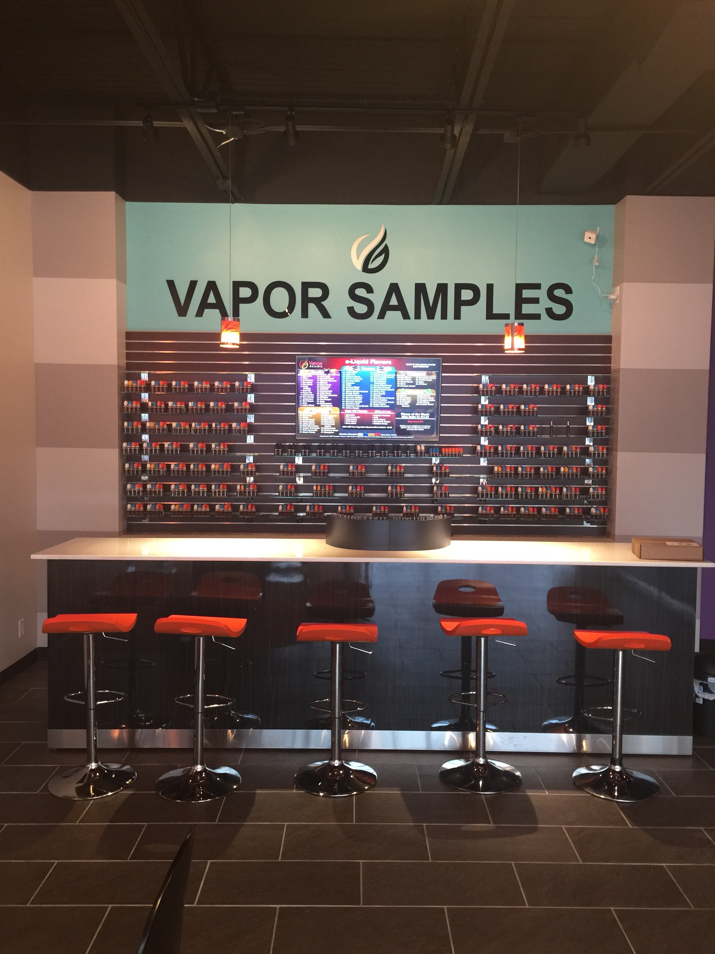 e-liquid sample bar