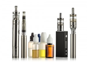 electronic cigarettes collection isolated on white